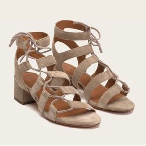 Frye Chrissy Side Ghillie Sandals in Ash Suede 9.5